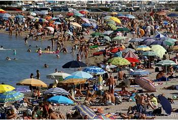 Crowded beach at Menton on the French Riviera