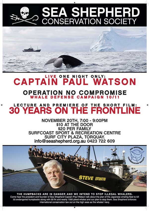 Sea Shepherd event flyer Torquay 2010