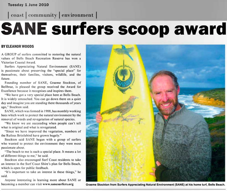 SANE Surf Coast Times article 2010